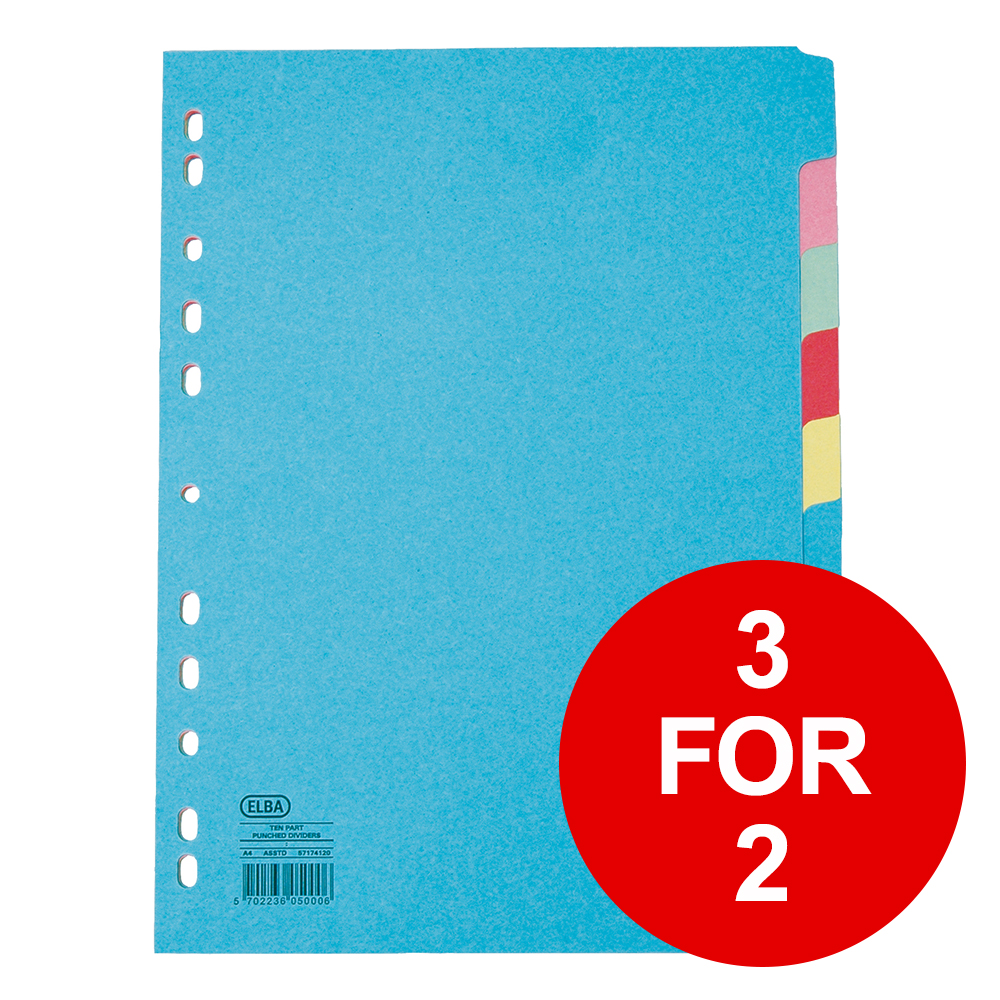 Elba Subject Card Dividers Europunched 10 Part 160gsm A4 Assorted Ref 400007246 [3 For 2] Jan-Dec 2019