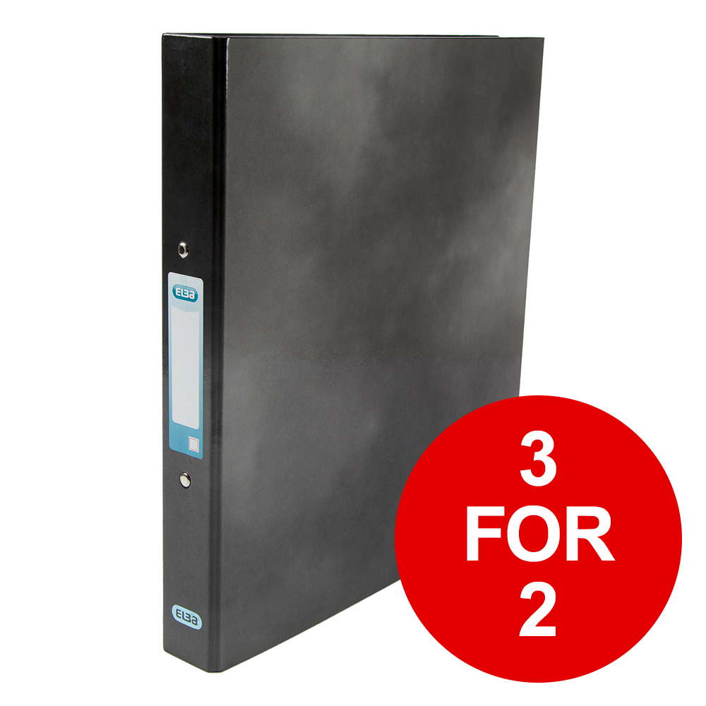 Elba Classy Ring Binder A4 2 O-Ring 25mm Laminated Metallic Black 400017753 [3 for 2] Jan-Dec 2019