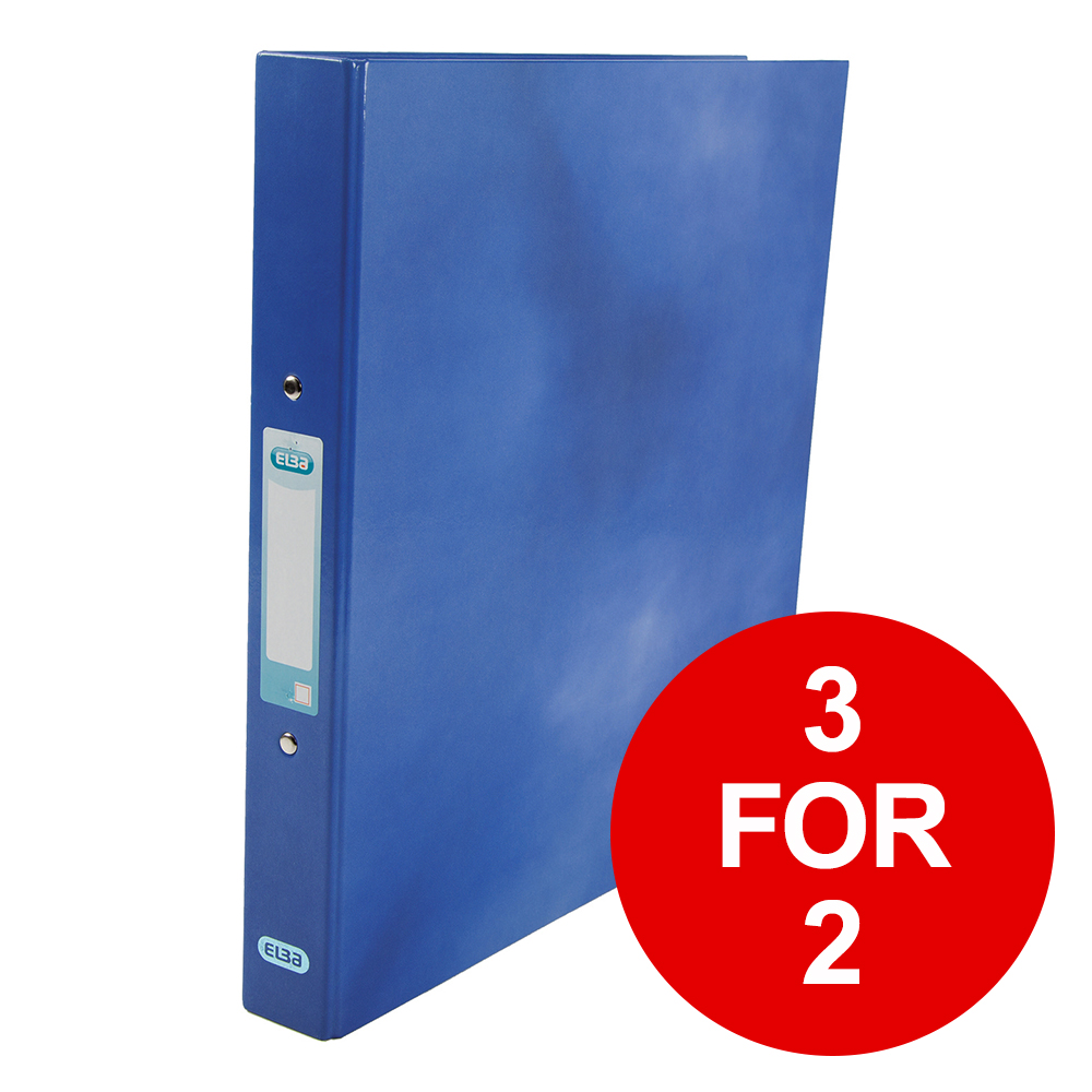 Elba Classy Ring Binder A4 2 O-Ring 25mm Laminated Metallic Blue 400017754 [3 for 2] Jan-Dec 2019