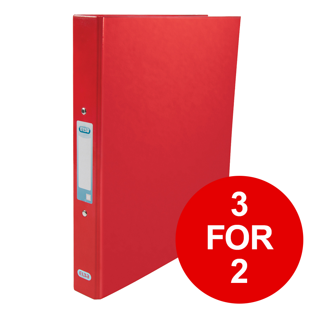 Elba Classy Ring Binder A4 2 O-Ring 25mm Laminated Metallic Red 400017755 [3 for 2] Jan-Dec 2019