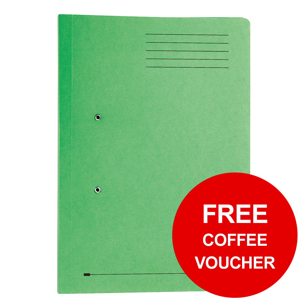 Elba Strongline Transfer Spring File Recycled Pocket 320gsm 36mm Foolscap Green Ref 100090147 Pack 25