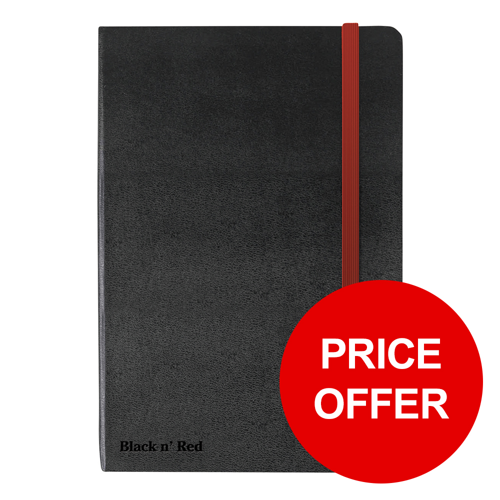 Black By Black n Red Business Journal Hard Cover Ruled and Numbered 144pp A6 Ref 400033672 PRICE OFFER