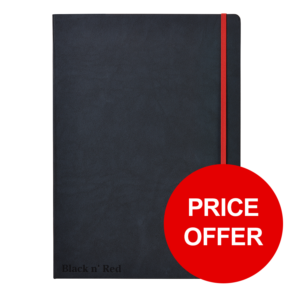 Black By Black n Red Business Journal Hard Cover Ruled and Numbered 144pp A4 Ref 400038675 PRICE OFFER