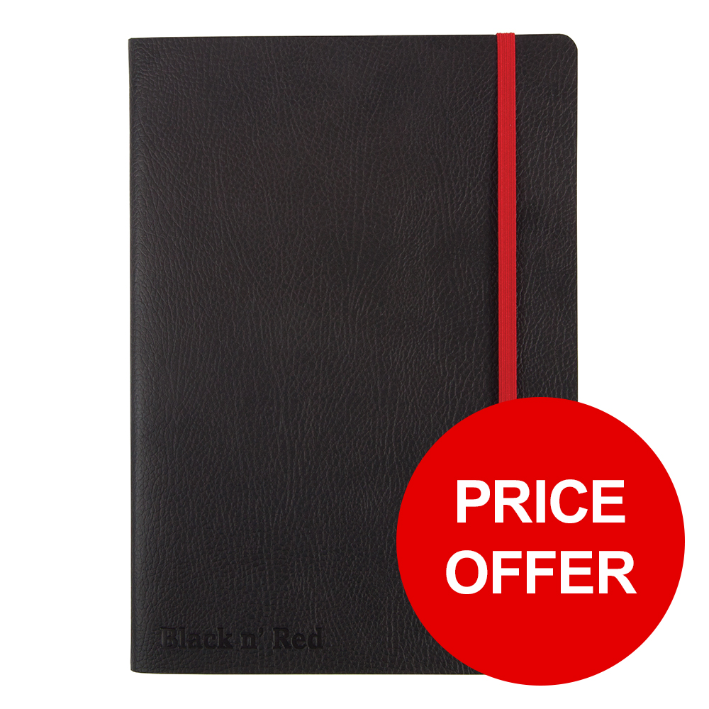 Black By Black n Red Business Journal Soft Cover Ruled and Numbered 144pp A5 Ref 400051204 PRICE OFFER