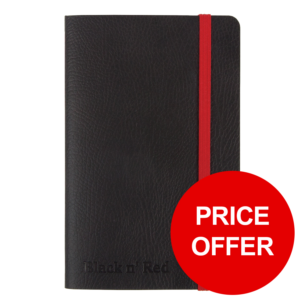 Black By Black n Red Business Journal Soft Cover Ruled and Numbered 144pp A6 Ref 400051205 [PRICE OFFER]