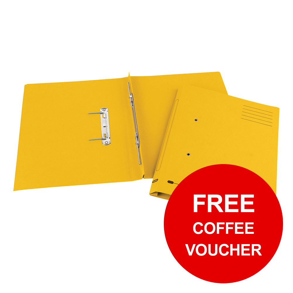 Elba StrongLine Spiral Transfer Spring File 320gsm Foolscap Yellow Ref 100090037 [Pack 25]