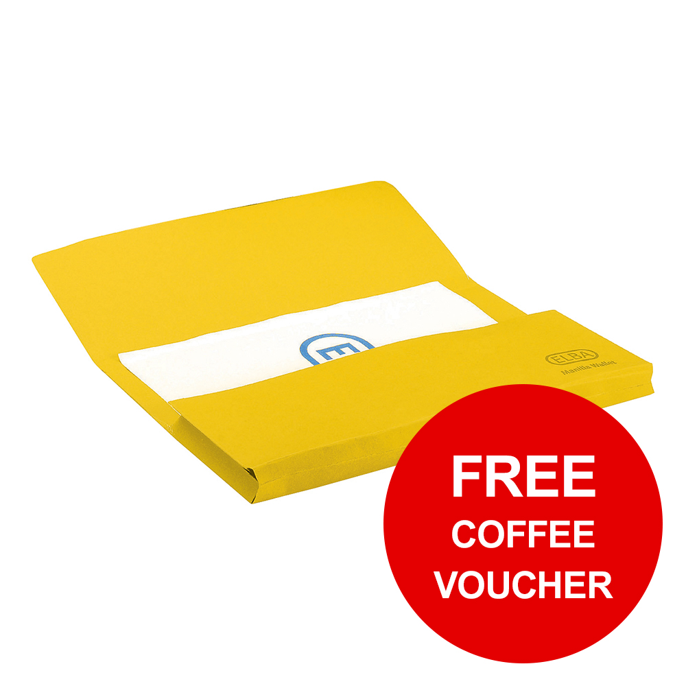 Elba StrongLine Manilla Document Wallet 320gsm 32mm Foolscap Yellow Ref 100090141 Pack 25 REDEMPTION