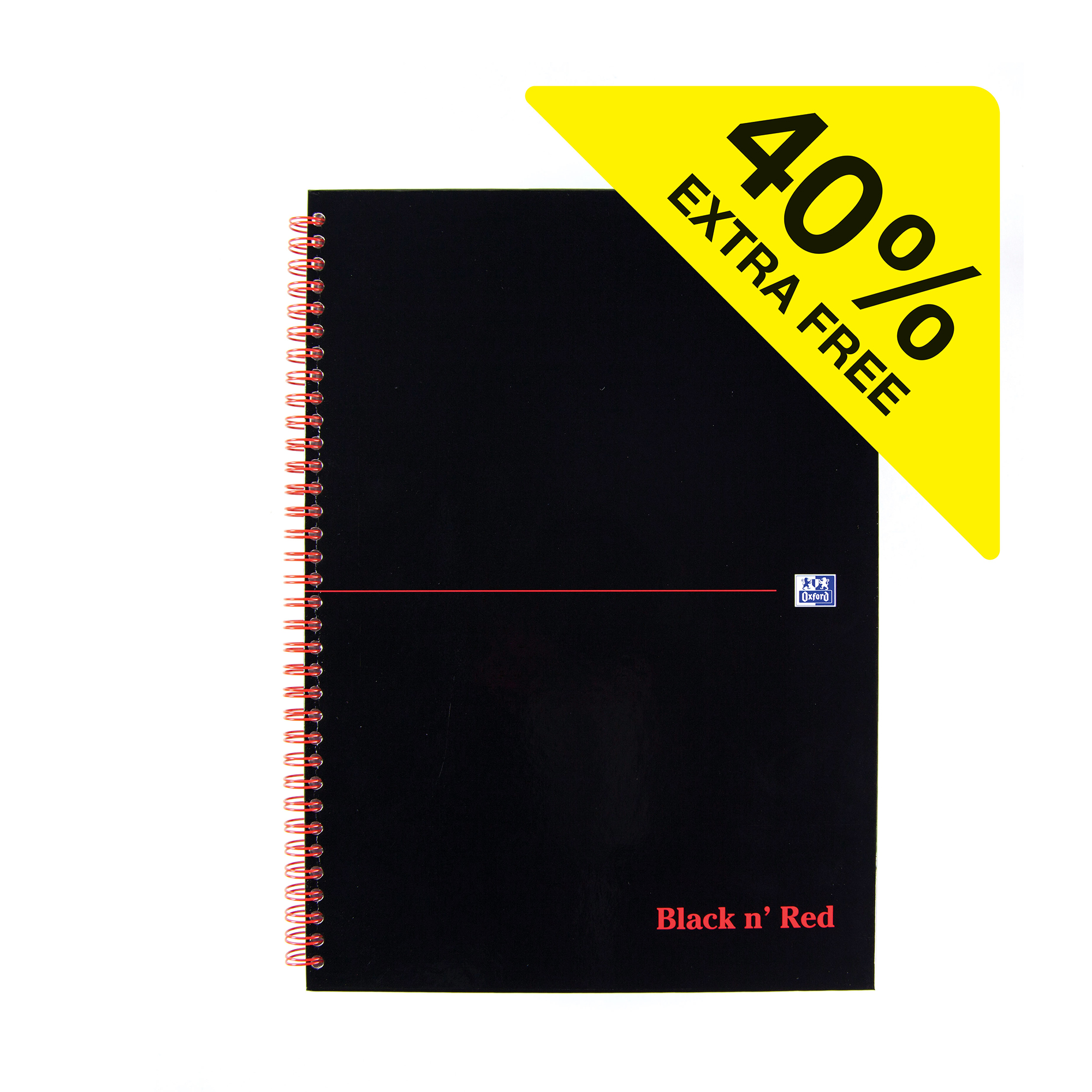 Black n Red Notebook Wirebound 90gsm Ruled 140pp A4 Glossy Black Ref 400115985 [Pack 5 Plus 2 FREE]
