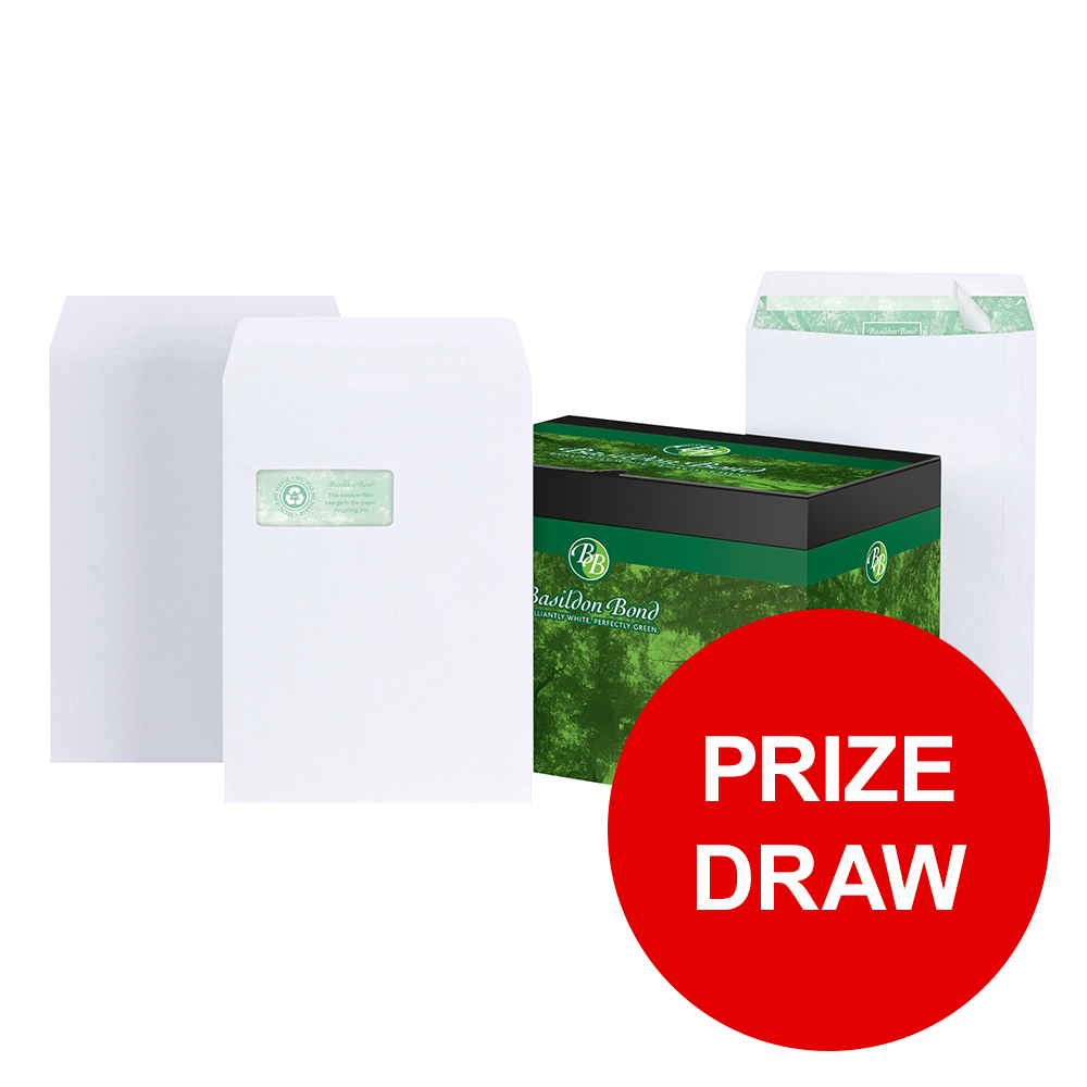 Basildon Bond Envelopes FSC Recycled Pocket Peel &Seal 120gsm C4 White Ref M80120 Pack 250 PRIZE DRAW