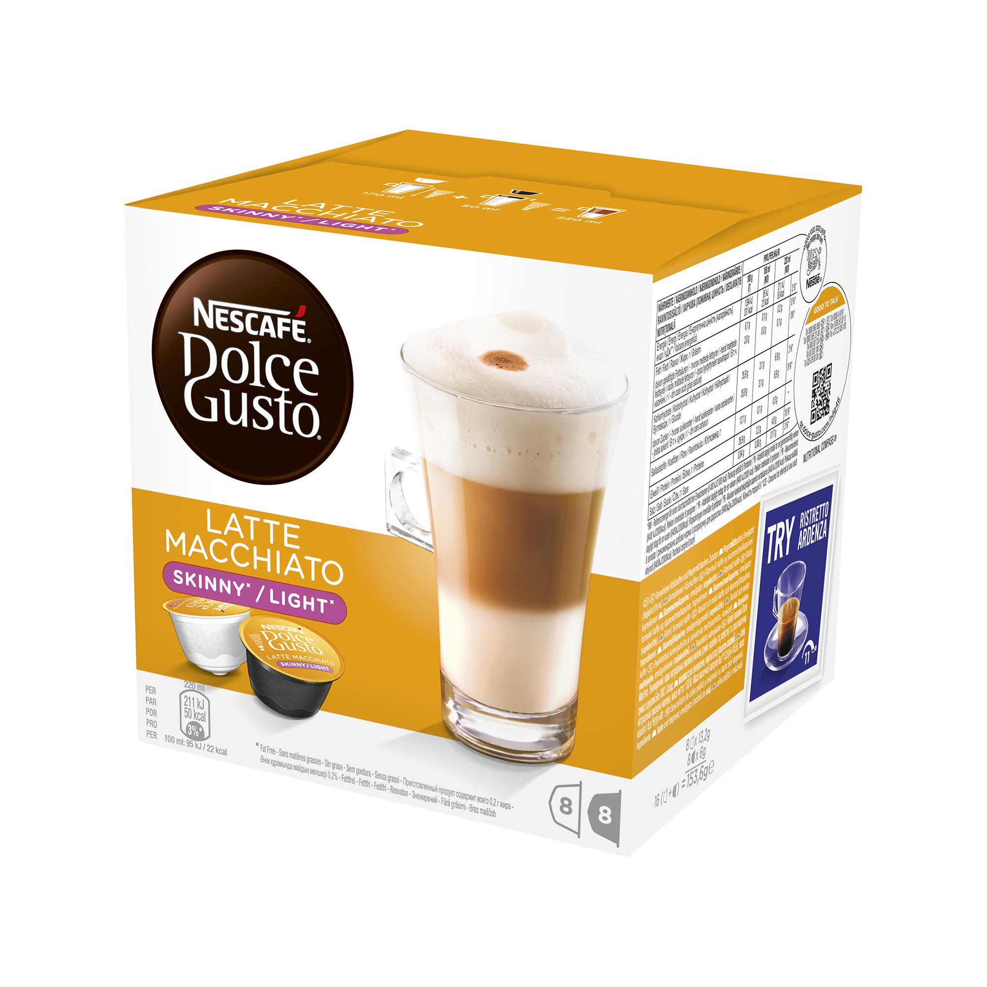 Coffee Nescafe Skinny Latte Capsules for Dolce Gusto Machine Ref 12051231 Pack 48 (3x16 Capsules=24 Drinks)