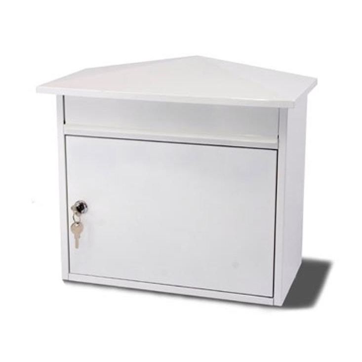 G2 Mersey Post Box Wall Mounted Steel 2 Keys Fixing Kit A4 Slot 390x205x350mm White Ref Mersey White
