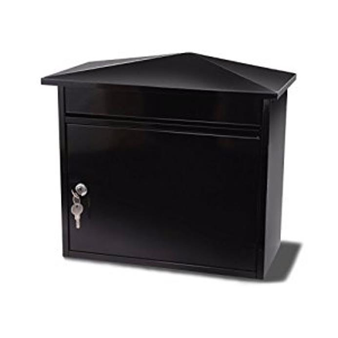 G2 Mersey Post Box Wall Mounted Steel 2 Keys Fixing Kit A4 Slot 390x205x350mm Black Ref Mersey Black