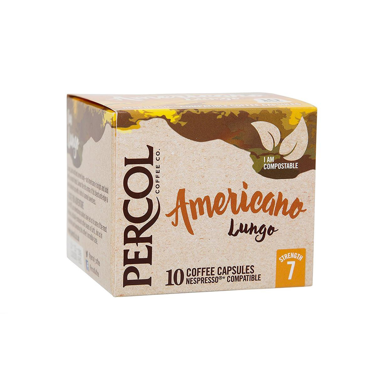 Percol Americano Lungo Nespresso Compatible Capsules Coffee Strength 7 Ref A07980 [Pack 10]