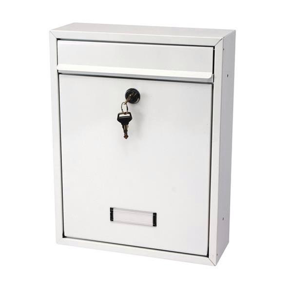 G2 Trent Post Box Wall Mounted Steel 2 Keys Fixing Kit A4 Slot 263x90x340mm White Ref Trent White
