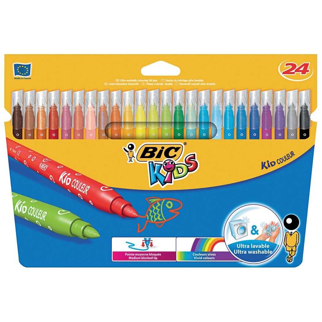 Bic Kids Couleur Felt Tip Pens Ultra-washable Water-based Medium Tip 24 Colours Ref 841800 Pack 24