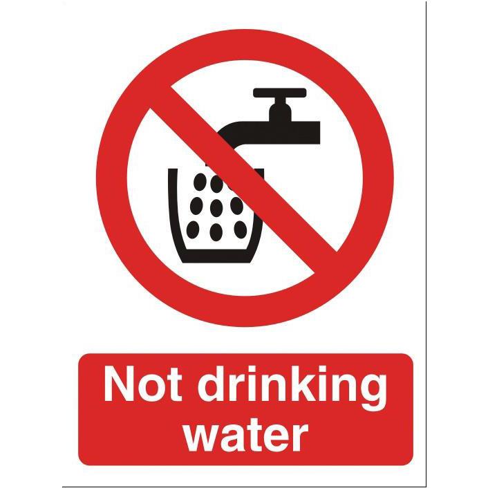 Stewart Superior Not Drinking Water Catering Sign W150xH200mm Self-adhesive Vinyl Ref P093SAV