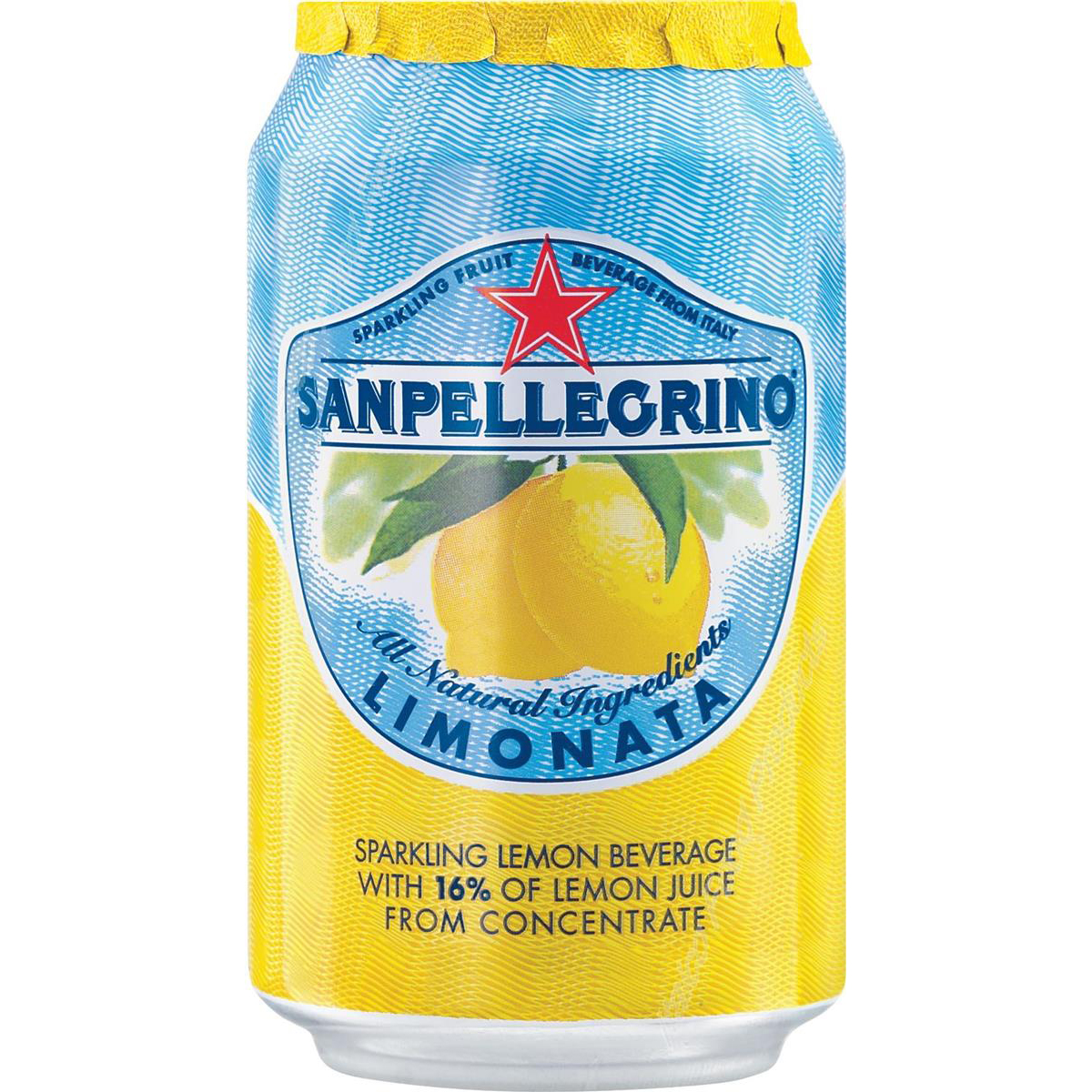 San Pellegrino Sparkling Lemon Citrus Soft Drink 330ml Can Ref N004002 Pack 24