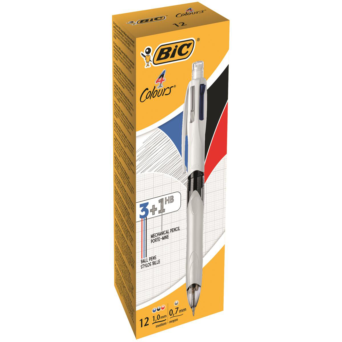 Bic 4 Colour Ballpoint Pen with Pencil Black Blue Red Ink Ref 942104 [Pack 12] [2 For 1] Jul-Sep 2018