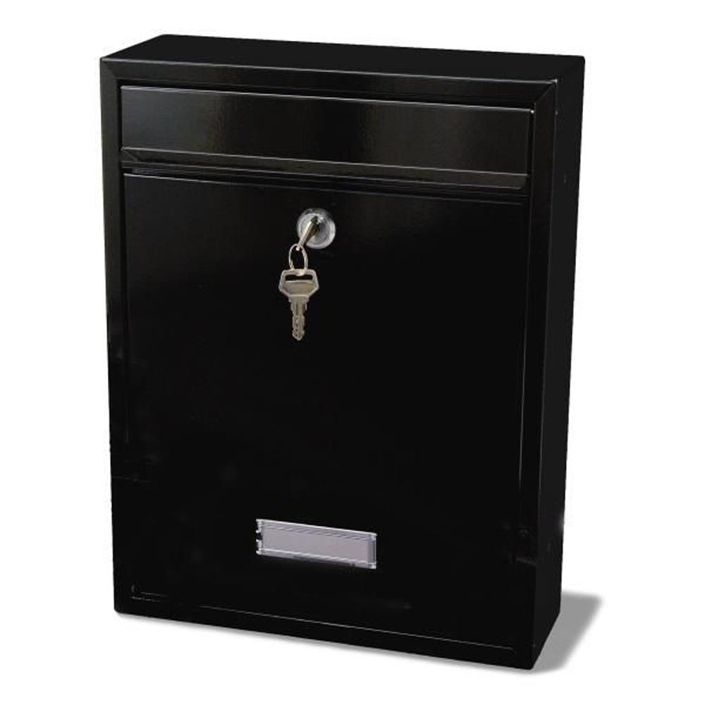 G2 Trent Post Box Wall Mounted Steel 2 Keys Fixing Kit A4 Slot 263x90x340mm Black Ref Trent Black