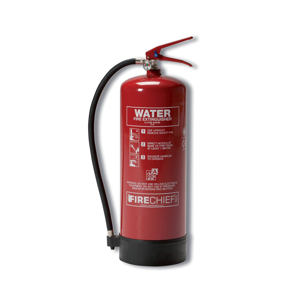 Water Firechief 9.0LTR Water Fire Extinguisher for Class A Fires Ref WG10150