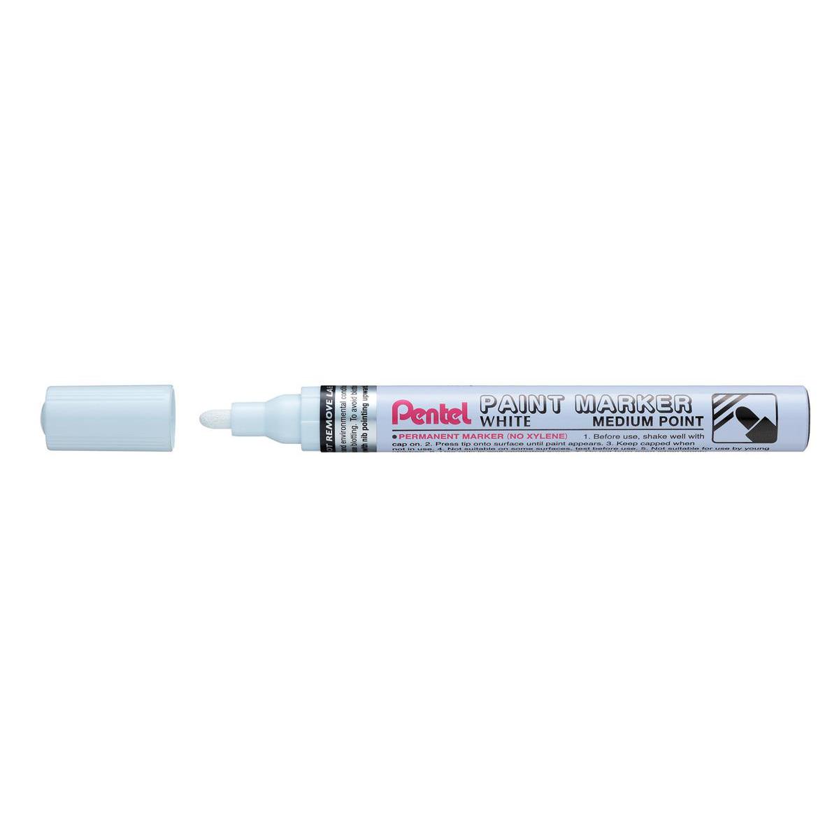 Markers Pentel Permanent Paint Marker Bullet Tip Medium 3.0mm Line White Ref MMP10-W Pack 12