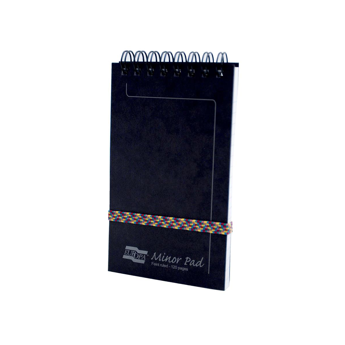 Spiral Note Books Europa Pad Twinwire Headbound 90gsm Ruled Micro Perforated 120pp 76x127mm Black Ref 3012Z Pack 10