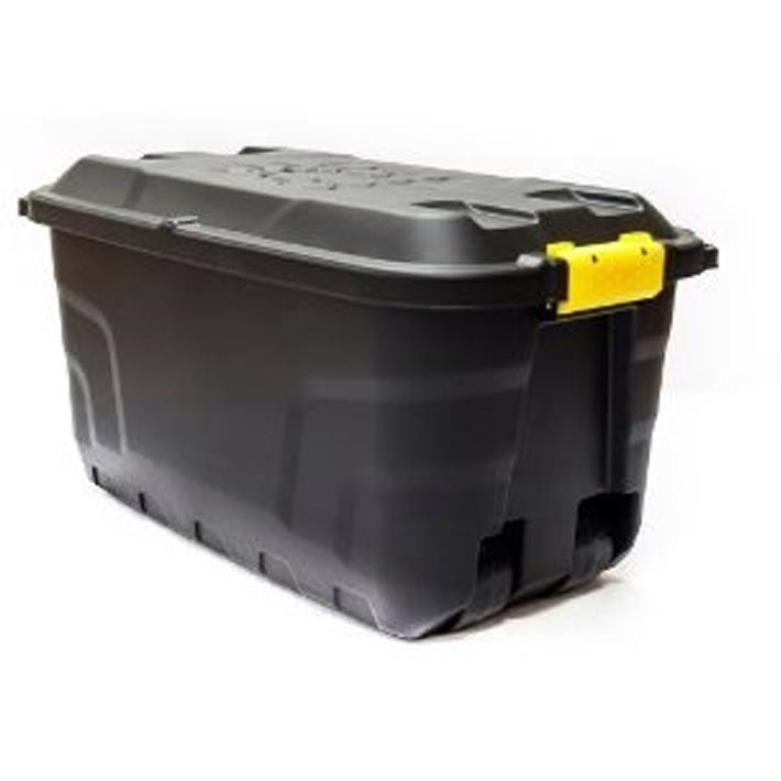 Strata Storage Trunk with Lid and Wheels 75Litres W770xD420xH400mm Heavy Duty Black Ref XW441-BLK/YEL-SP