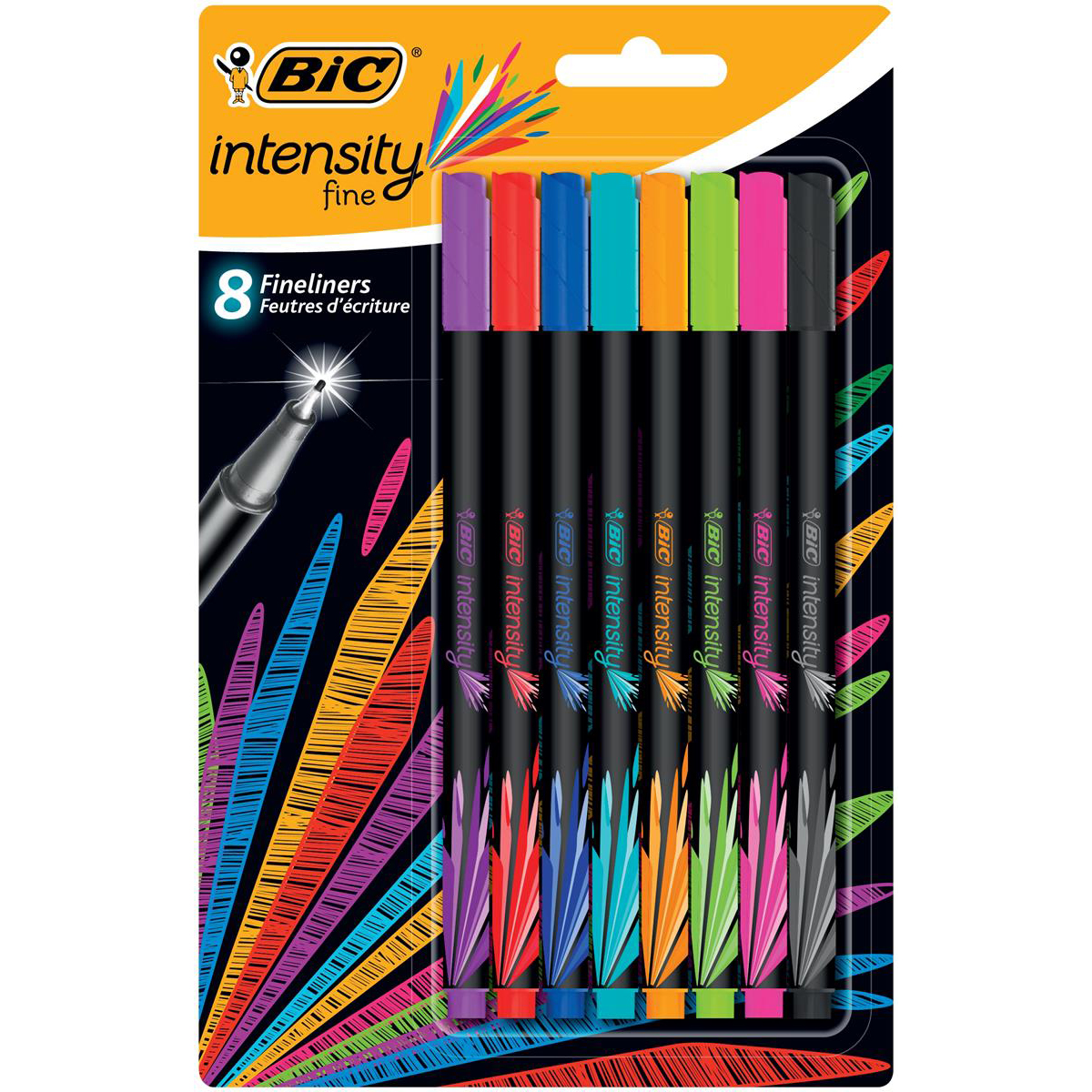 Bic Intensity Fine Writing Felt Pen 8 Assorted Bright Colours Ref 942075 Pack 8