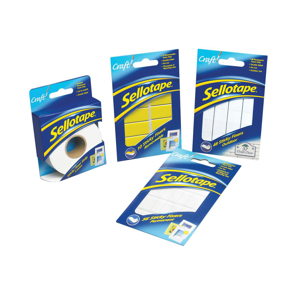 Sellotape Sticky Fixers Outdoor Double-sided Weather-resistant 20x20mm 48 Pads Ref 1445421 Pack 12