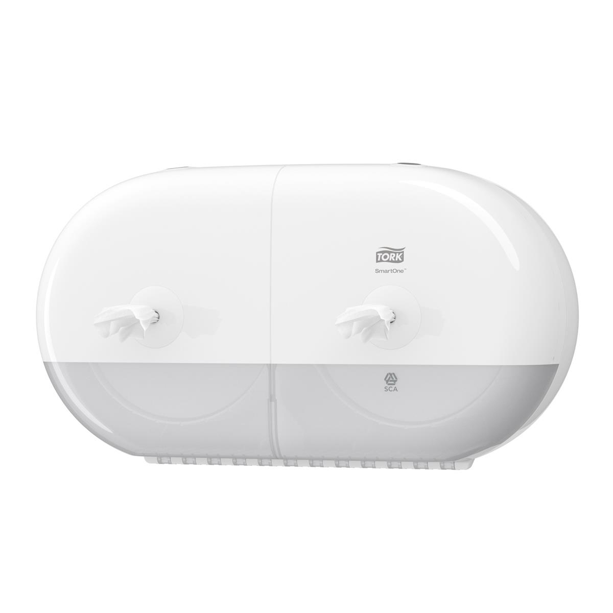 Toilet tissue dispensers Tork SmartOne Twin Mini Toilet Roll Dispenser W398156x221mm White Ref 682000