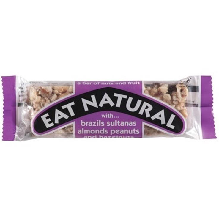 Eat Natural Energy Bar made from Brazil Nuts Sultanas Almonds Peanuts and Hazelnuts 50g Pack 12