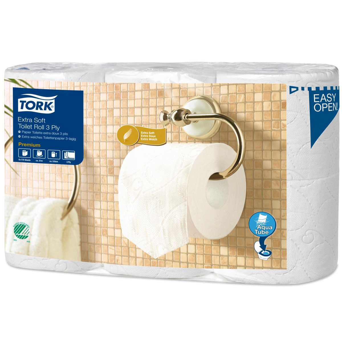Toilet tissue Tork Extra Soft Premium Toilet Roll 3-ply Embossed 99x125mm 170 Sheets White Ref 110318 [Pack 6]
