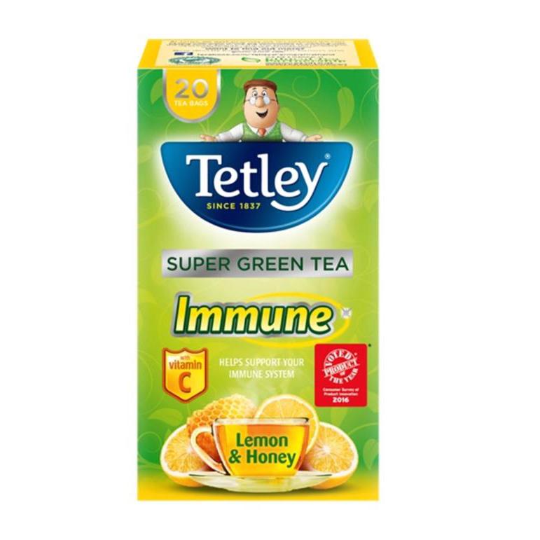Tetley Super Green Tea IMMUNE Lemon Honey with Vitamin C Ref 4048J [Pack 20]