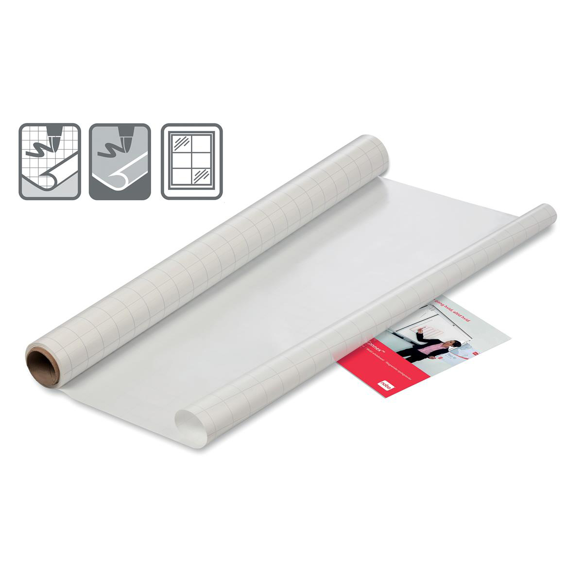 Image for Nobo Instant Film Whiteboard Reusable A1 Gridded Ref 1905157 [Roll 25 Sheets]