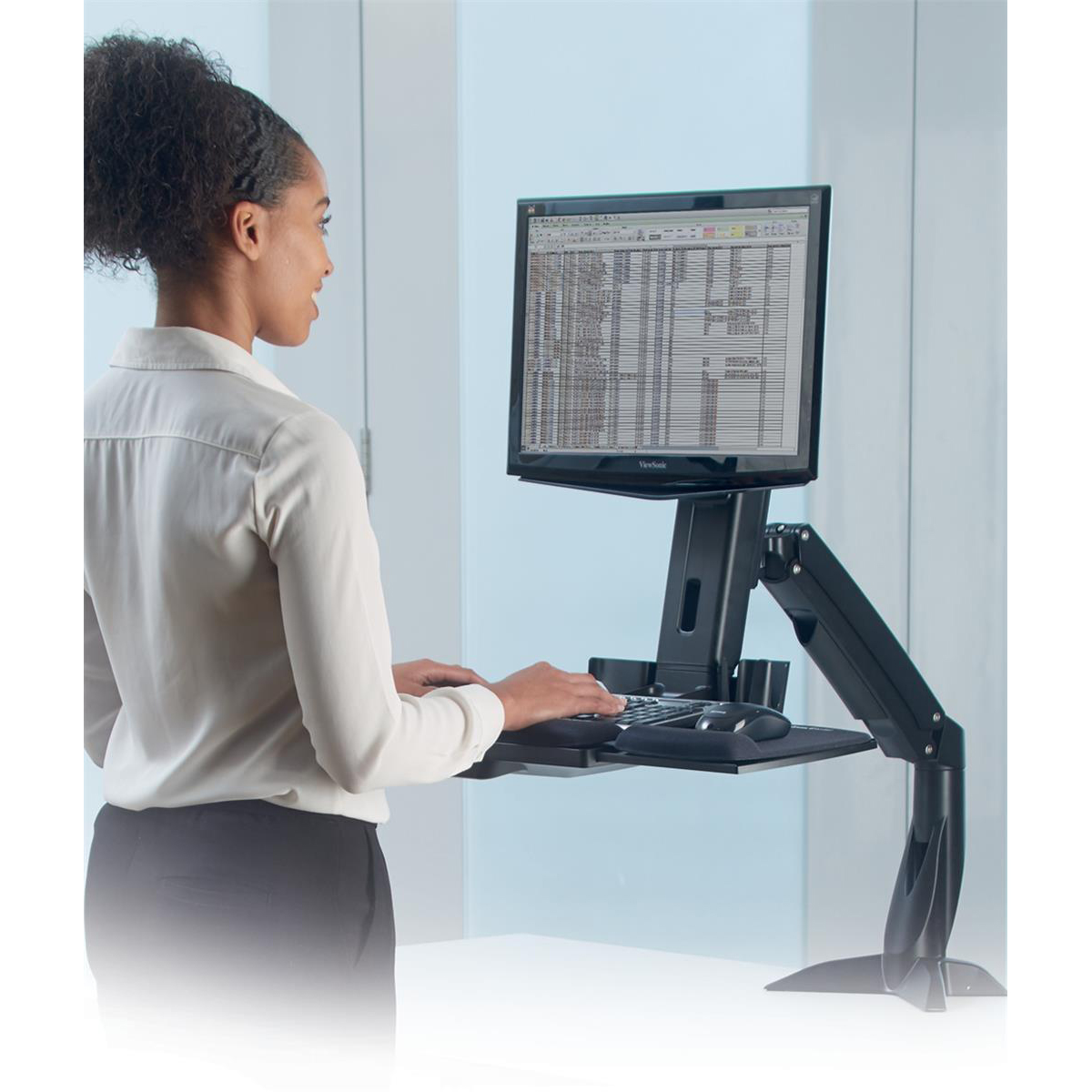 Fellowes Easy Glide Sit-Stand Work Platform with Repositionable Tray Capacity 2.5kg Black Ref 8204601