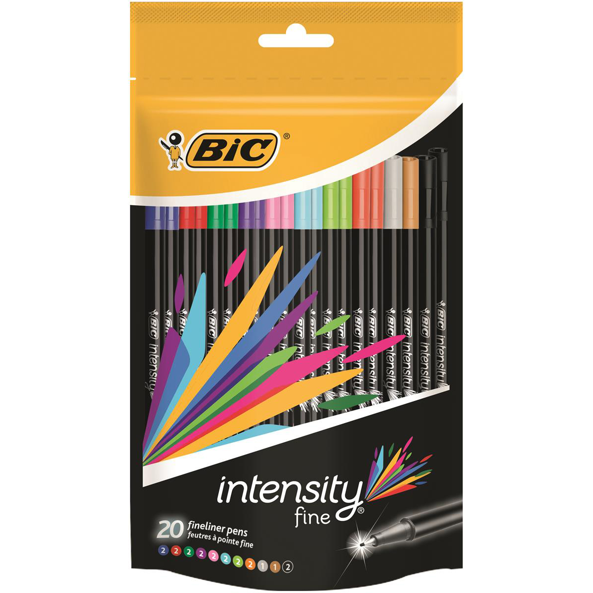 Bic Intensity Fine Writing Felt Pen 20 Assorted Bright Colours Ref 942097 Pack 20