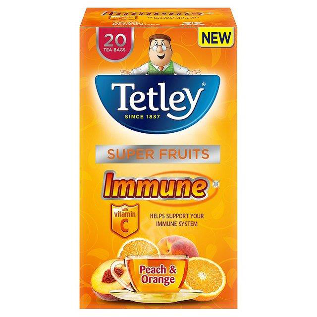 Tetley Super Fruits Tea IMMUNE Peach & Orange with Vitamin C Ref 4610A [Pack 20]