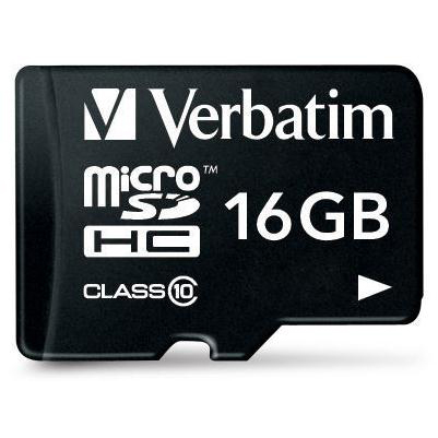 Verbatim Micro SDHC Card Including Adapter 16GB Black Ref 44082