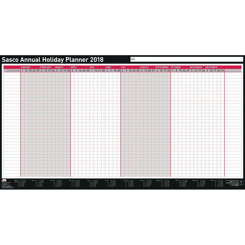 Sasco 2018 Annual Holiday Planner Unmounted Ref 138419