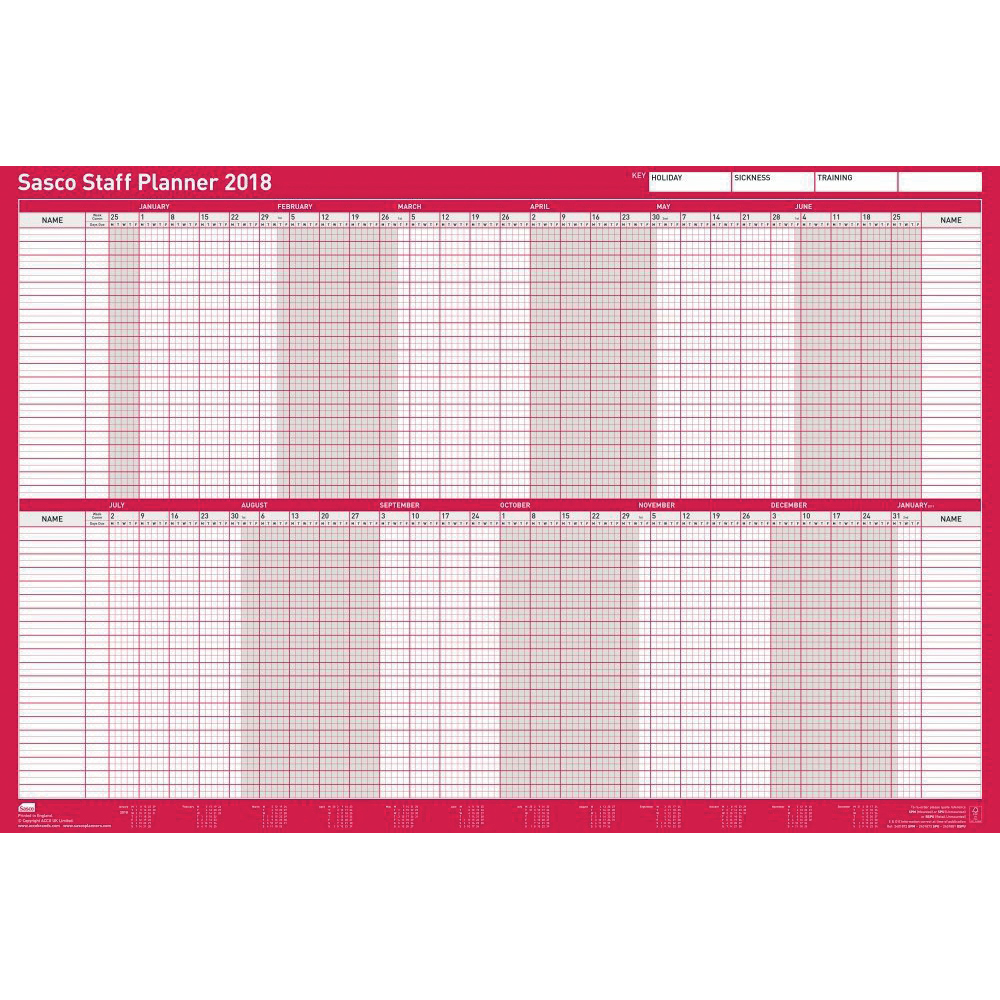 Sasco 2018 Staff Planner Mounted Ref 138422