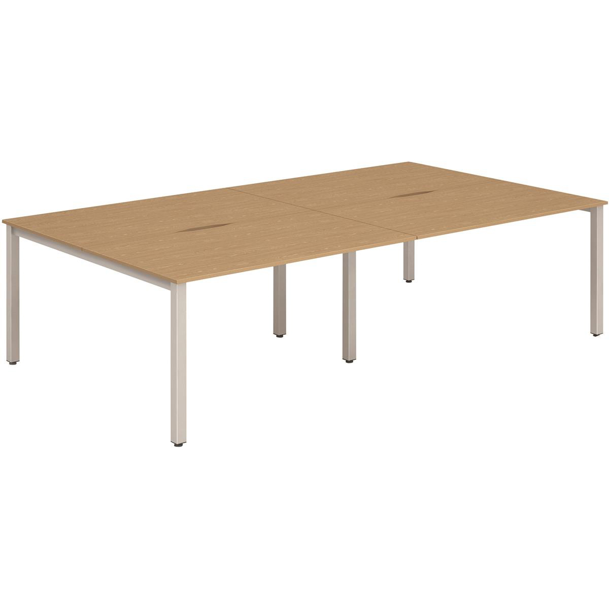 Trexus Bench Desk 4 Person Back to Back Configuration Silver Leg 2400x1600mm Oak Ref BE258