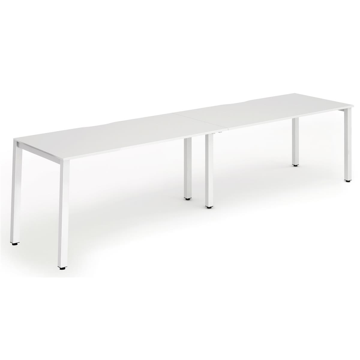 Trexus Bench Desk 2 Person Side to Side Configuration White Leg 2800x800mm White Ref BE355