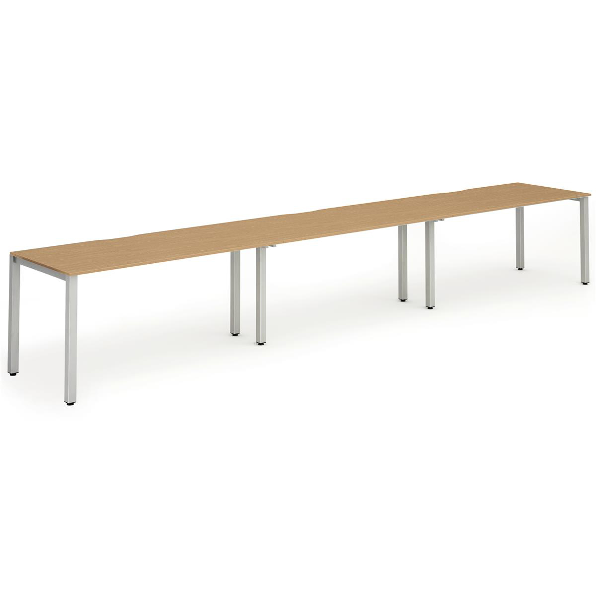 Trexus Bench Desk 3 Person Side to Side Configuration Silver Leg 4800x800mm Oak Ref BE408