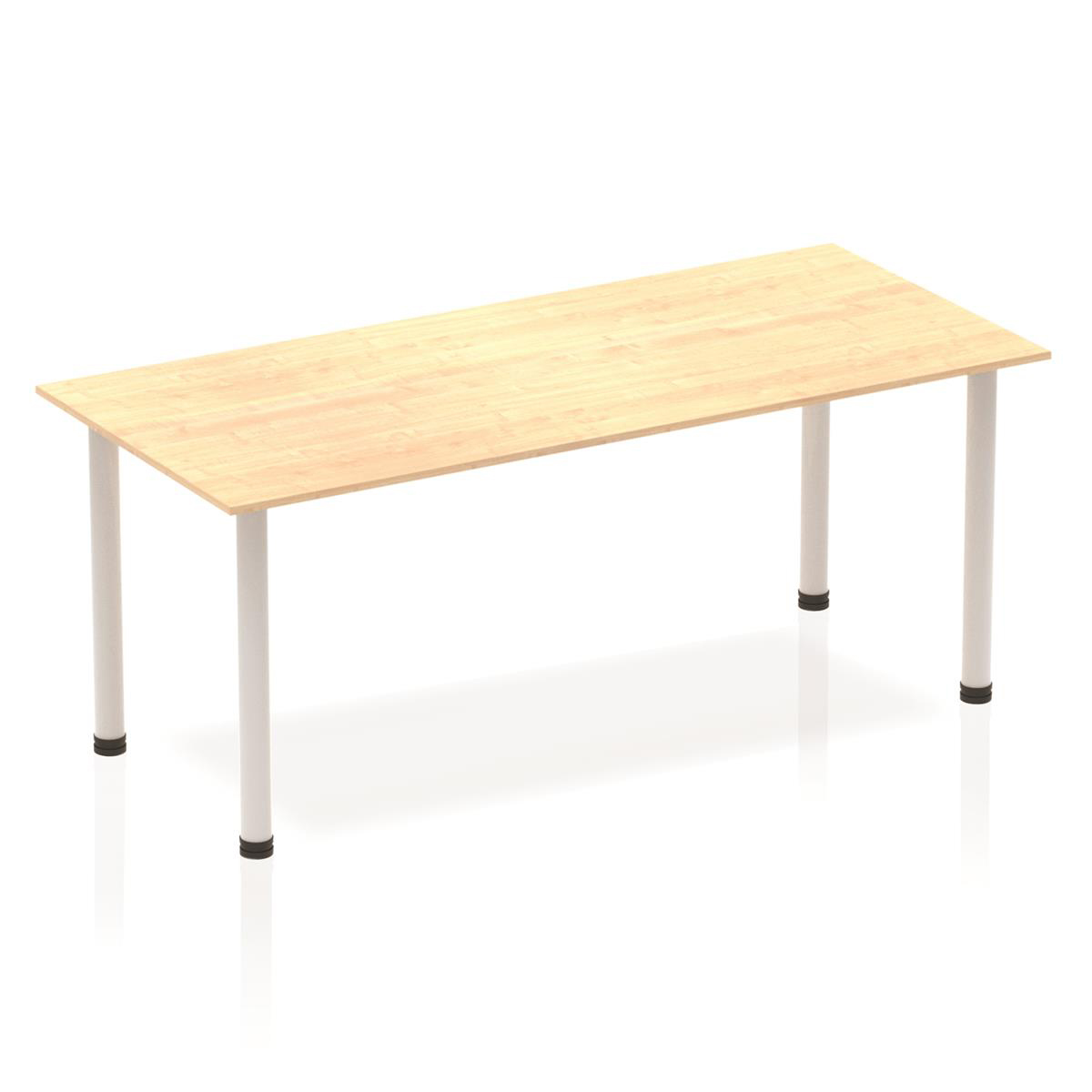 Sonix Rectangular Silver Post Leg Table 1800x800mm Maple Ref BF00193