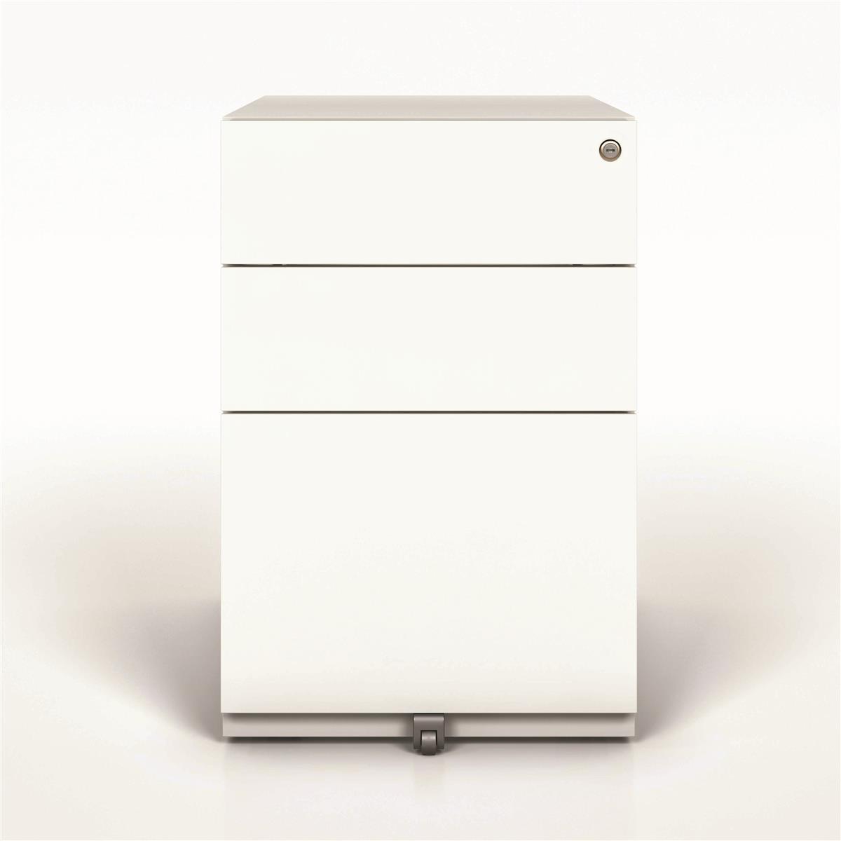 Pedestals Sonix 3 Drawer Tall Under Desk Filing Pedestal 420x565x645mm White Ref NWA52M7SSF-ab9