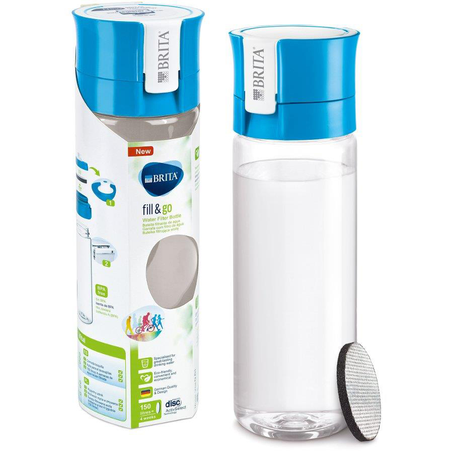 Water Machines & Accessories Brita Fill & Go Vital Filtering Water Bottle Pull-out Mouthpiece Flip-top Lid 600ml Blue Ref 1031144