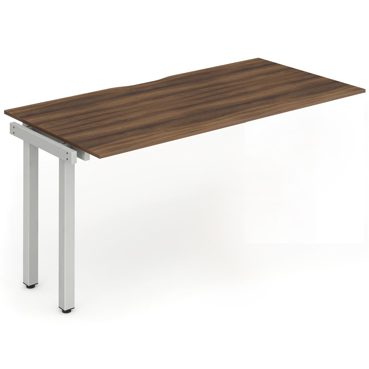 Trexus Bench Desk Single Extension Silver Leg 1400x800mm Walnut Ref BE334