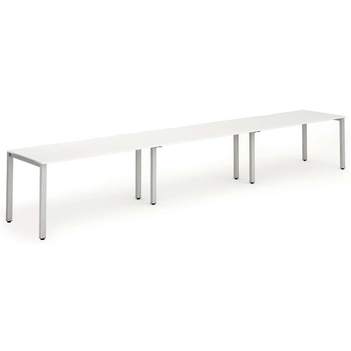 Trexus Bench Desk 3 Person Side to Side Configuration Silver Leg 4800x800mm White Ref BE410