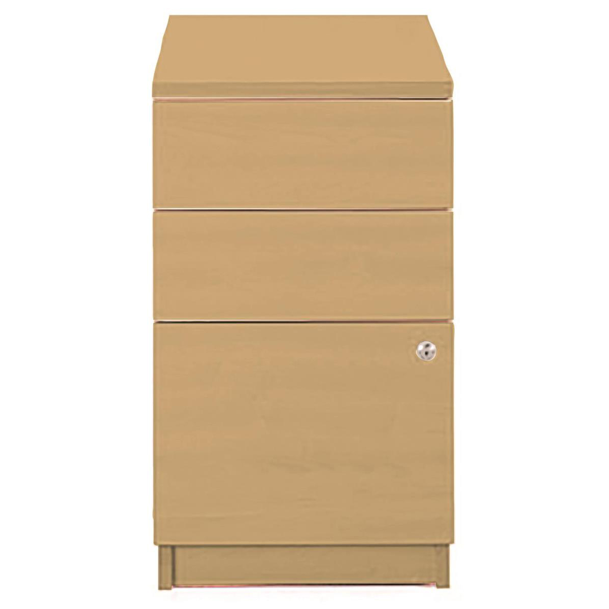 Pedestals Sonix Desk High 3 Drawer 800D Pedestal 430x800x730mm Rich Beech Ref w9699b