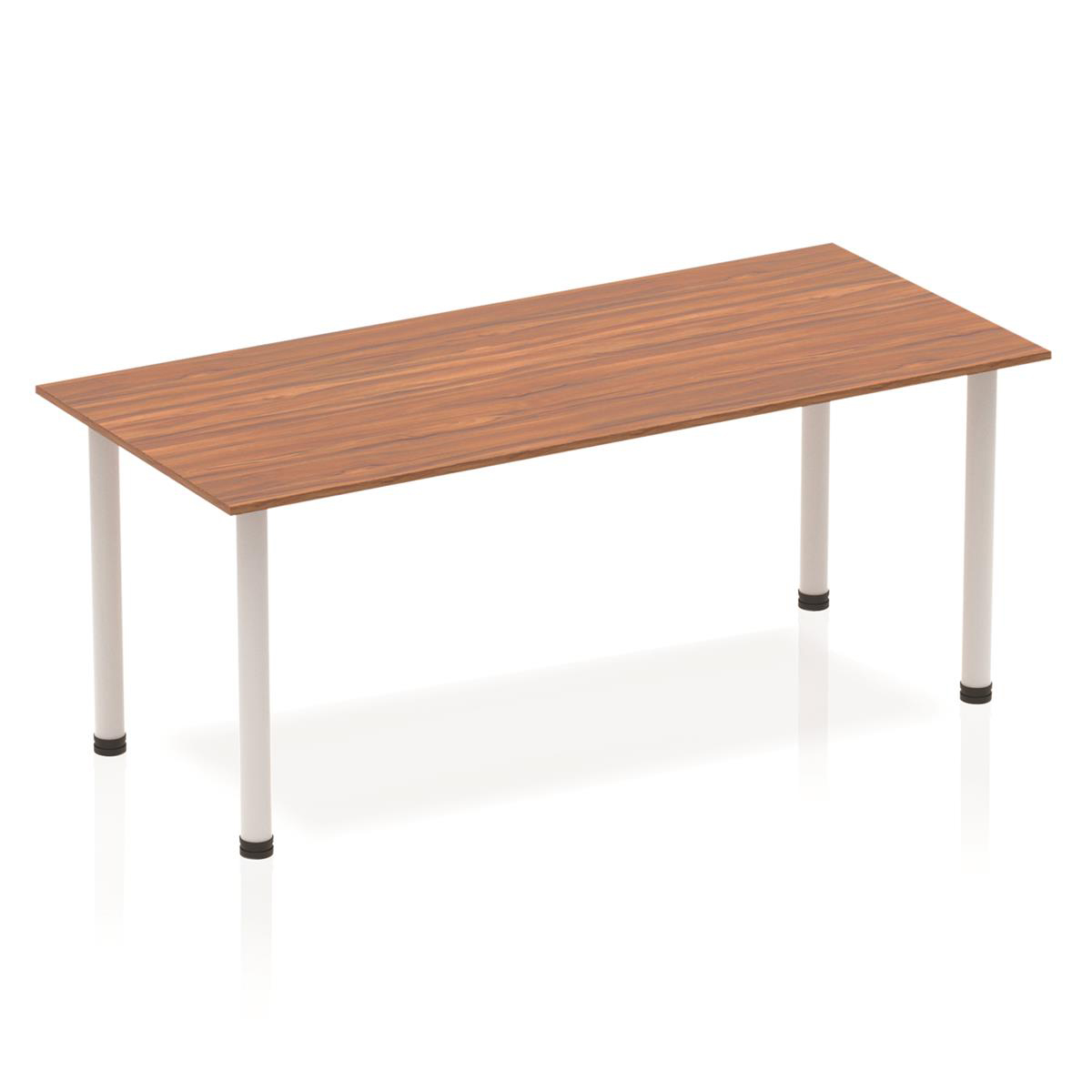 Sonix Rectangular Silver Post Leg Table 1800x800mm Walnut Ref BF00187